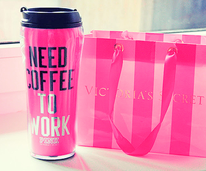 pink, Victoria's Secret, and coffee image