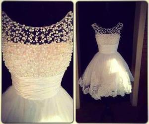 dress, white, and pearls image