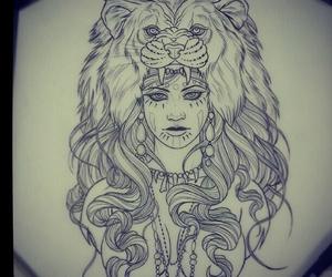 tattoo, art, and lion image