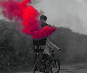 bike, road, and smoke image