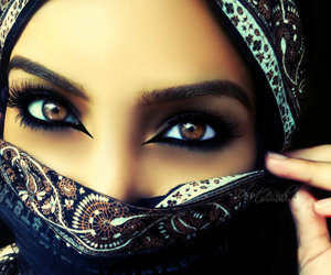 eyes, makeup, and hijab image