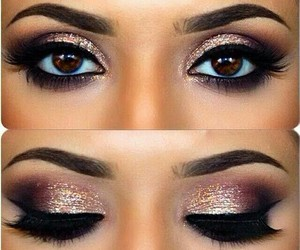 eye make up, pink eyeshadow, and pink make up image