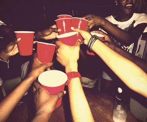 party, friends, and drink image