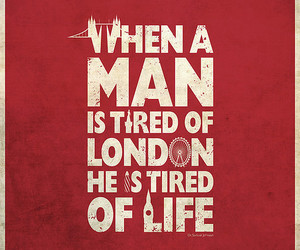 london, quote, and red image
