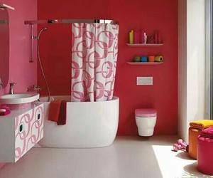 bathroom and pink image