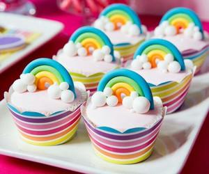 cupcake, rainbow, and cake image