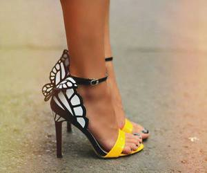 shoes, yellow, and butterfly image
