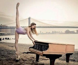 piano, ballet, and beach image