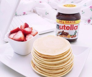 nutella, strawberry, and food image