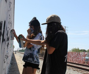 girl, friends, and graffiti image