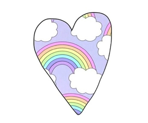 rainbow, heart, and overlay image