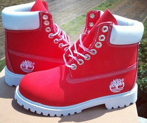 red, timberland, and boots image