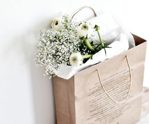 flowers, white, and bag image