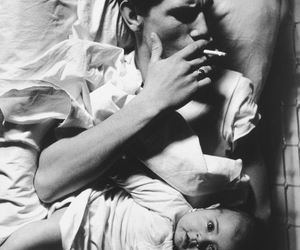 cigarette, baby, and black and white image