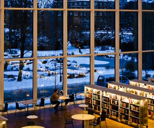 book, library, and winter image