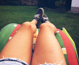 chilling, garden, and hotpants image
