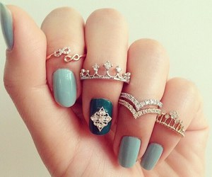 nails, rings, and blue image