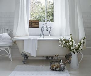 bathroom, white, and bath image