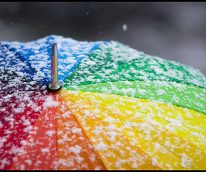 umbrella, rainbow, and snow image