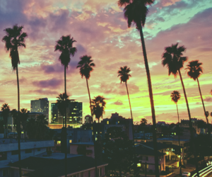 city, sunset, and summer image