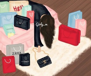 girly_m, drawing, and shopping image