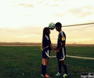 love, couple, and football image