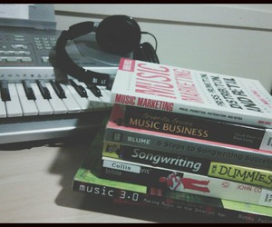 books, business, and headphones image