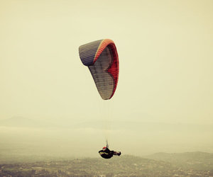 parachute, red, and sky image