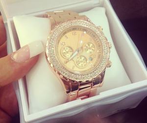 watch, gold, and nails image