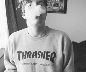 smoke, boy, and black and white image