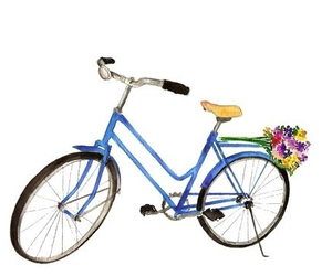drawing, bike, and flowers image