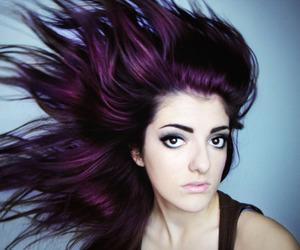 girl, pretty, and purple hair image