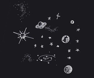 b&w, draw, and moon image
