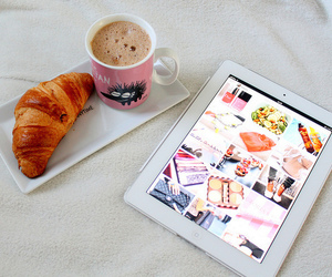 ipad, coffee, and food image