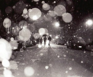 black and white, rain, and snow image
