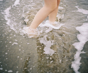 beach, feet, and sea image