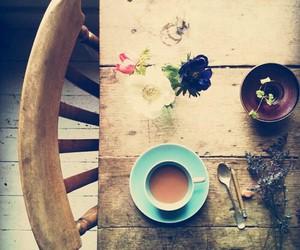 flowers, vintage, and coffee image