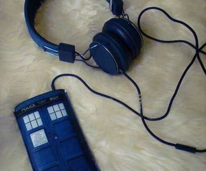 doctor who, headphones, and tardis image
