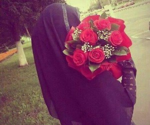 hijab, rose, and flowers image
