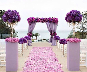 wedding, flowers, and purple image
