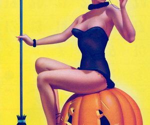 witch, Halloween, and pumpkin image