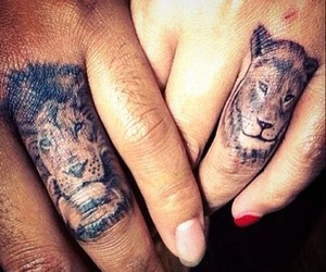 couple, lions, and tattoo image