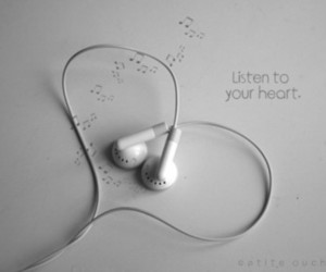 earphones, hearts, and notes image
