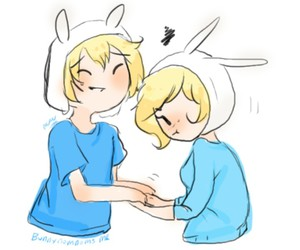 couple, finn, and adventure time image