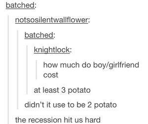 boyfriend, girlfriend, and potato image
