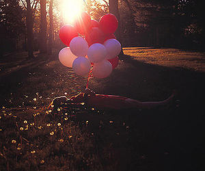 balloons, girl, and sun image