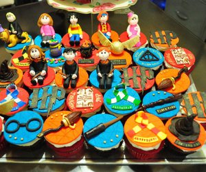 cupcakes, deathly hallows, and harry potter image
