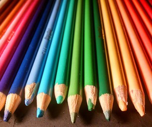 colored pencils, colors, and rainbow image