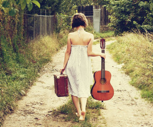 girl, guitar, and road image