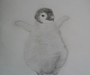 blackandwhite, drawing, and penguin image